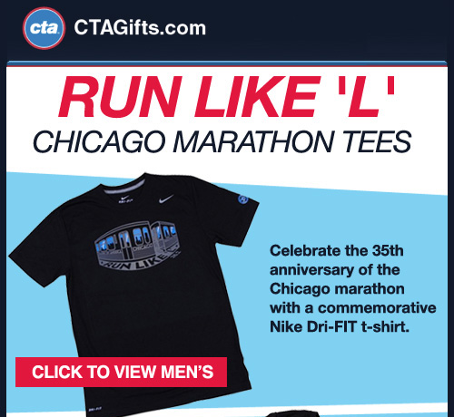Celebrate the 35th anniversary of the Chicago marathon with a commemorative Nike Dri-FIT t-shirt.  High-performance Dri-FIT fabric wicks sweat to help keep you dry and comfortable.  Features a crew neck with interior taping for a comfortable fit and flat seams to help reduce chafing.  CLICK FOR MEN'S SHIRT